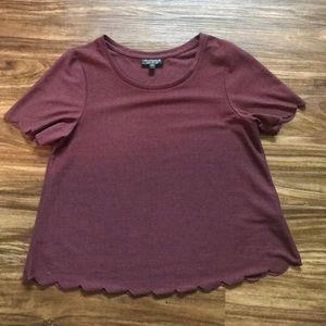 TopShop Scallop Sleeve T-Shirt size 4
